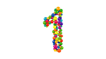 Multi-colored balls in the shape of number one