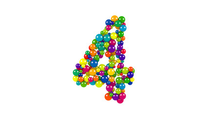 Multi-colored balls in the shape of number four