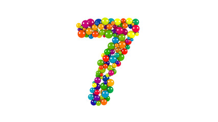 Multi-colored balls in the shape of number seven
