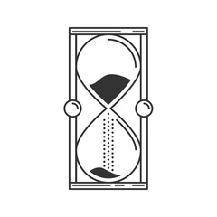 Hourglass or sand timer icon suitable for info graphics, websites and print media and interfaces, mobile website. Linear trendy hand drawn style, line, vector icon. Geometric isolated flat design.