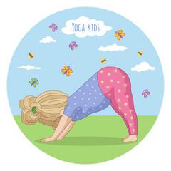 Girl performing yoga. Adho Mukha shvanasana.