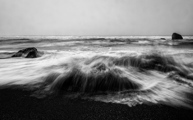 Angry Ocean in Black and White