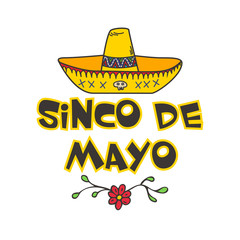 Cinco De Mayo  poster with  hand drawn sombrero.