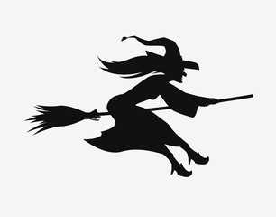 Witch on a broomstick. Black silhouette. Halloween vector symbol