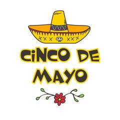 Cinco De Mayo  poster with  hand drawn sombrero.