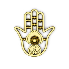 golden hamsa Fatima hand symbol 3d illustration render isolated on white