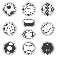 Sports Balls. Football, basketball, golf, volleyball, hockey, american , tennis, billiard, baseball, bowling