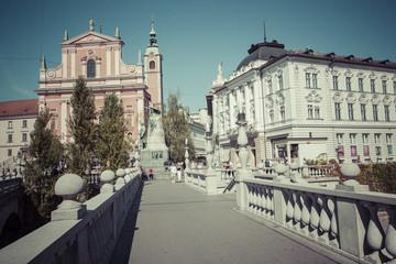 Preseren square in Ljubljana city. Ljubljana is a capital city of Slovenia
