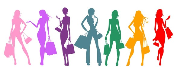 silhouettes of women shopping, colorful
