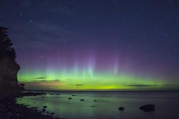 Northern ligh Aurora Boralis over the Baltic sea in Sweden