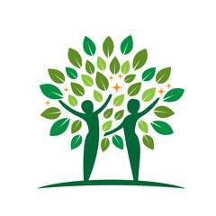 Vector Green Tree People Health Logo