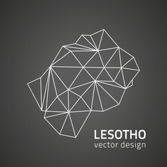 Lesotho vector black outline triangle perspective map