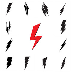 Vector lightning silhouette. Lightning Bolt icon.