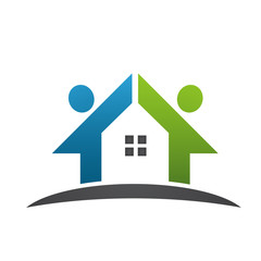 Vector Blue Green Home People Logo