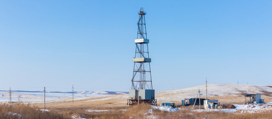 Drilling rig in steppe