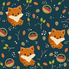 Seamless wallpaper. Baby fox with a basket of raspberry in a for