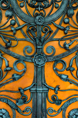 vintage blue wrought iron gate