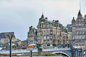 Edinburgh, View of the city, several monuments and the Castle,