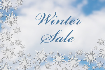 White Snowflake Background with Winter Sale Message