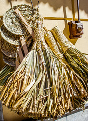 straw handmade objects. Crafts Sicily. Italy