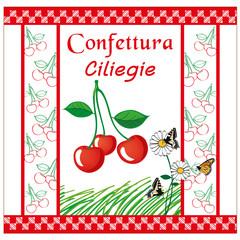 etichetta per marmellata ciliegie