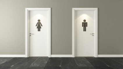 white restroom doors for male and female genders with spot light