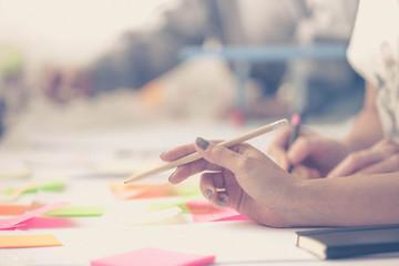 Hands. Team work. Design thinking. Startup