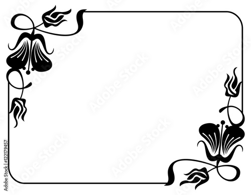 Silhouette Flower Frame Design Element For Banners Labels