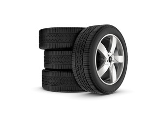 Rendering black wheels with one in profile isolated on white background.