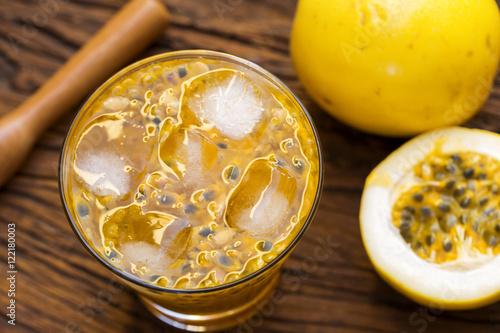 "Passion Fruit Caipirinha of Brazil on wooden background"" Stock photo ..."