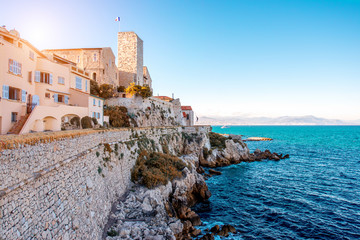 Landscape view on the old coastal village and fortification of Antibes on the french riviera in France Fototapete
