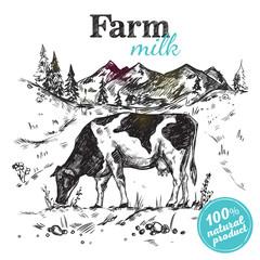 Cow Farm Landscape Poster