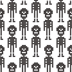 Vector seamless pattern with skeletons in the pixel style.  illustration.