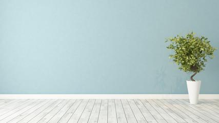 empty room with plant
