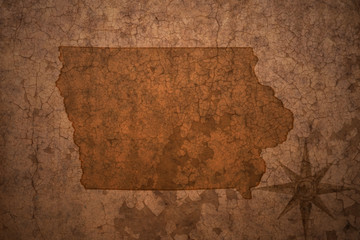 iowa state map on a old vintage crack paper background