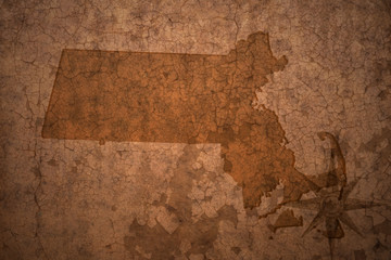 massachusetts state map on a old vintage crack paper background