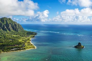 Aerial view of Kualoa Point and Chinamans Hat at Kaneohe Bay, Ha