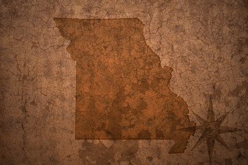 missouri state map on a old vintage crack paper background