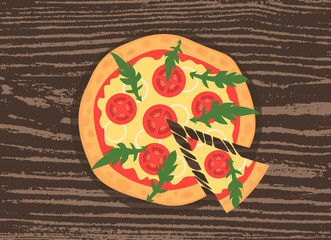 Hot pizza slice with melting cheese on a rustic wooden background. Vector illustration of margherita. Cartoon style