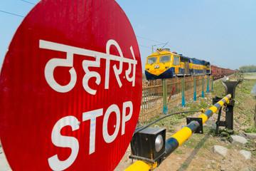 Train crossing in India