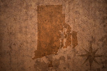 rhode island state map on a old vintage crack paper background