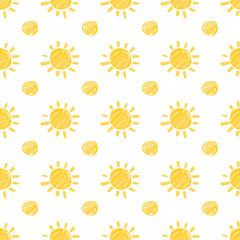 Seamless pattern with sun and dots hand drawn by marker. Sunny repeating texture in yellow colors. Original background for prints, textile, wallpapers and wrapping design. Vector eps10 illustration.