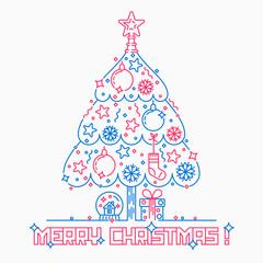 Staande foto Vogels in kooien Christmas tree line art style