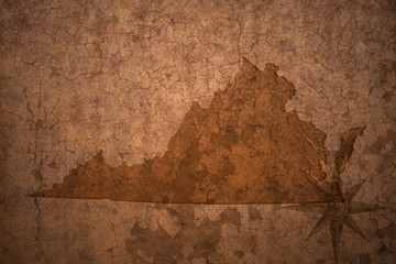 virginia state map on a old vintage crack paper background