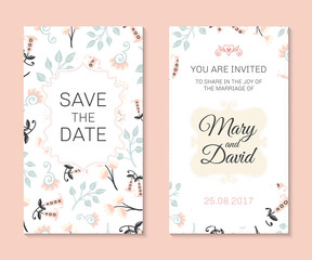 Romantic vector cards template