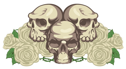 emblem with three human skulls and rose