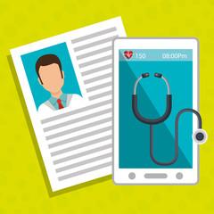 smartphone stethoscope medical doctor vector illustration eps 10