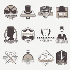 Vintage hipster labels bow gentlemens hipster icons. Vector illustration gentlemens hipster icons black silhouette. Gentlemens hipster icons fashion old accessory communication hat men item.