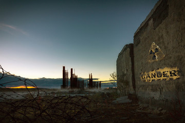 The world after nuclear war.Ghost town at sunset.Nuclear contamination