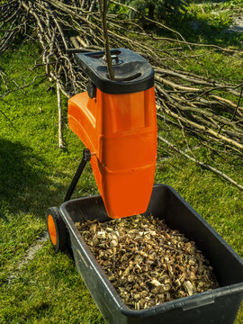 Wood shredder with wood chips